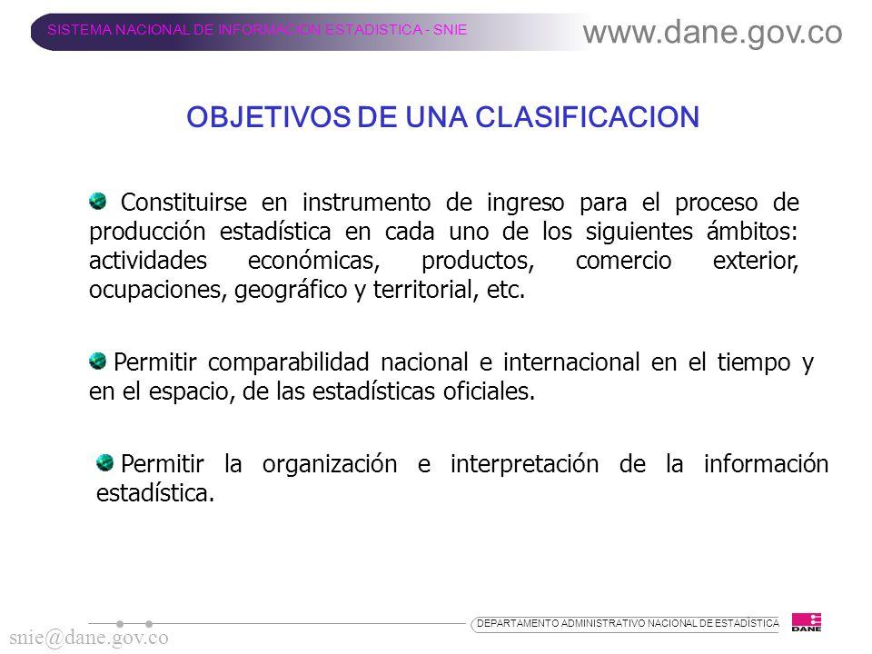 OBJETIVOS DE UNA CLASIFICACION