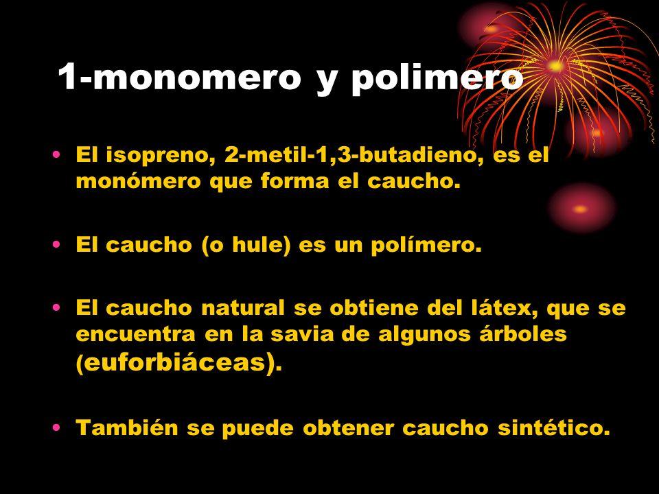 1-monomero y polimero El isopreno, 2-metil-1,3-butadieno, es el monómero que forma el caucho. El caucho (o hule) es un polímero.
