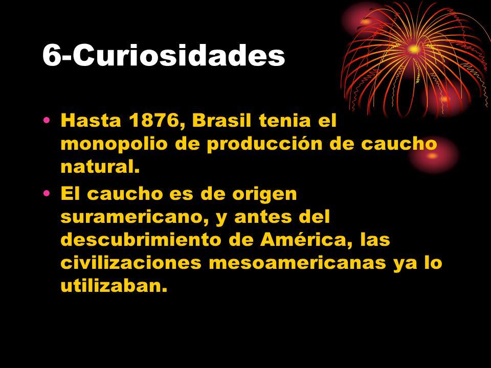 6-CuriosidadesHasta 1876, Brasil tenia el monopolio de producción de caucho natural.