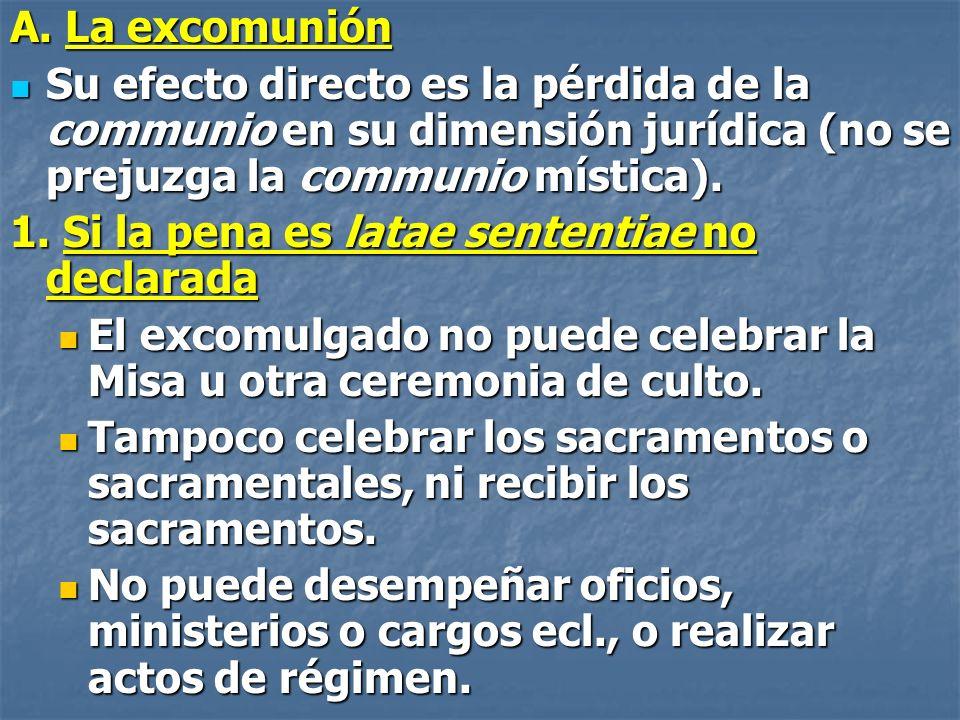 A. La excomunión Su efecto directo es la pérdida de la communio en su dimensión jurídica (no se prejuzga la communio mística).