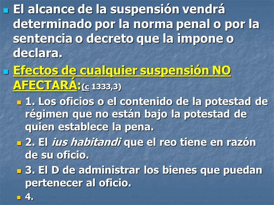 Efectos de cualquier suspensión NO AFECTARÁ:(c 1333,3)