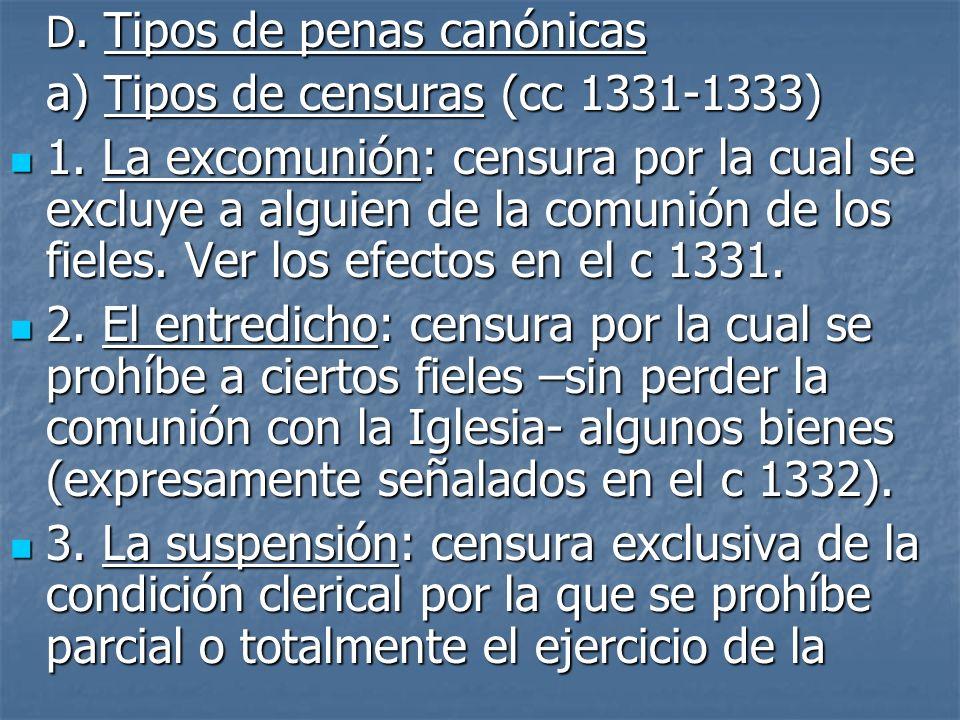 a) Tipos de censuras (cc 1331-1333)