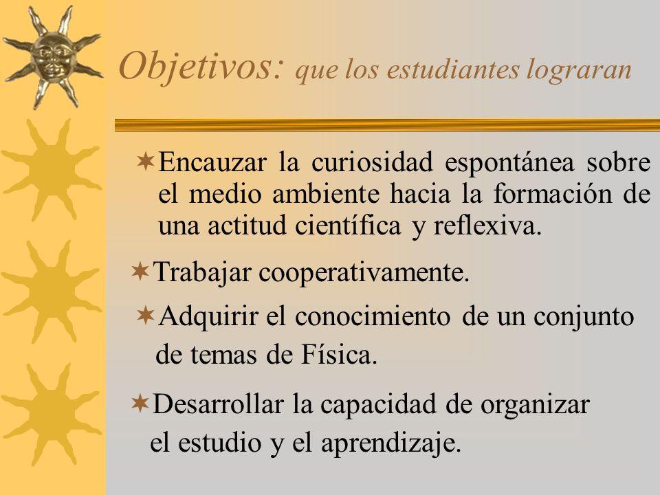 Objetivos: que los estudiantes lograran