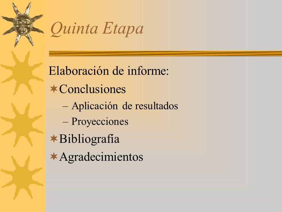 Quinta Etapa Elaboración de informe: Conclusiones Bibliografía
