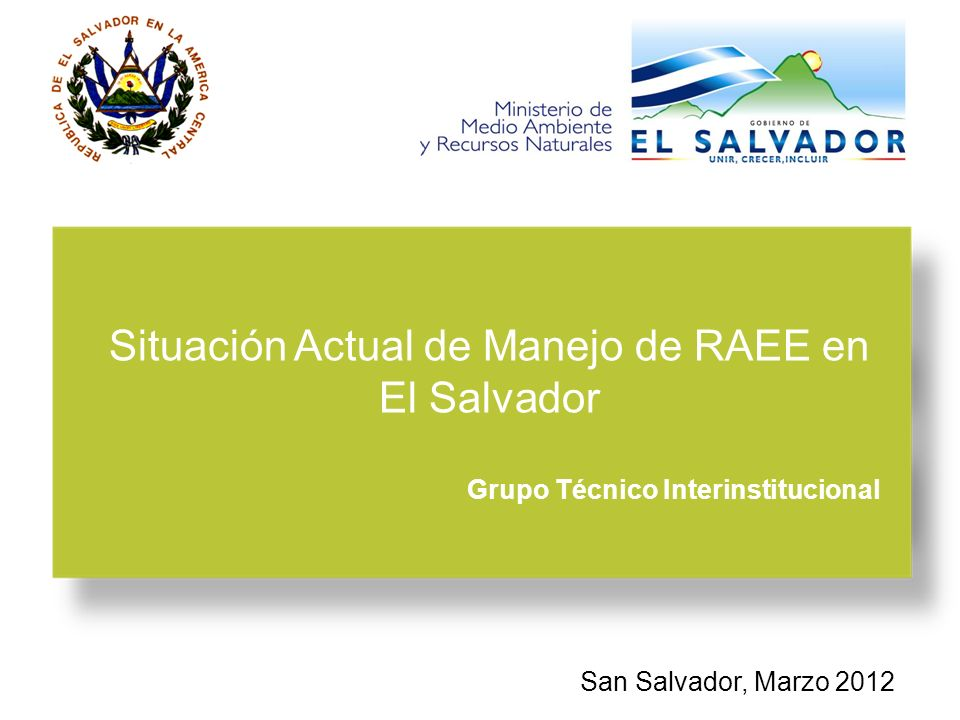 Situación Actual de Manejo de RAEE en El Salvador