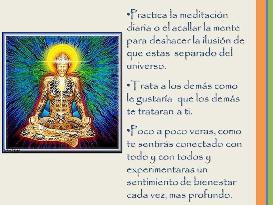Practica la meditación diaria o el acallar la mente para deshacer la ilusión de que estas separado del universo.