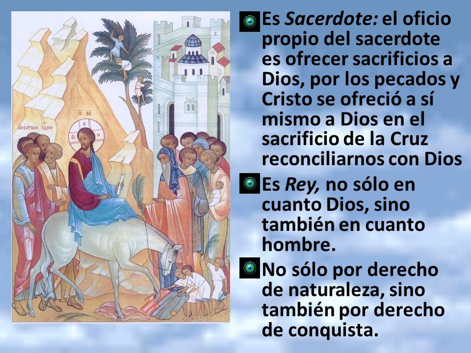 Es Sacerdote: el oficio propio del sacerdote es ofrecer sacrificios a Dios, por los pecados y Cristo se ofreció a sí mismo a Dios en el sacrificio de la Cruz reconciliarnos con Dios