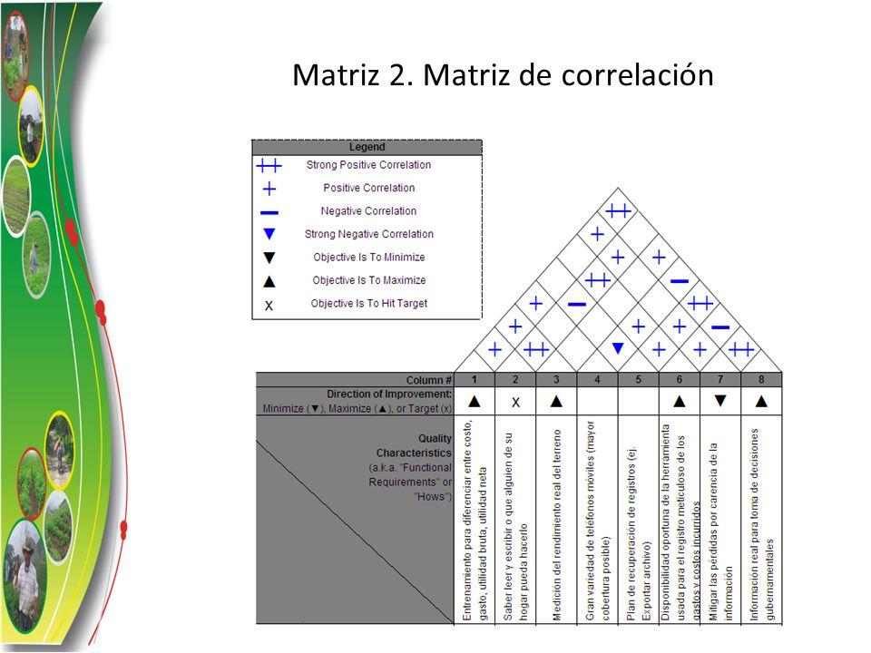 Matriz 2. Matriz de correlación