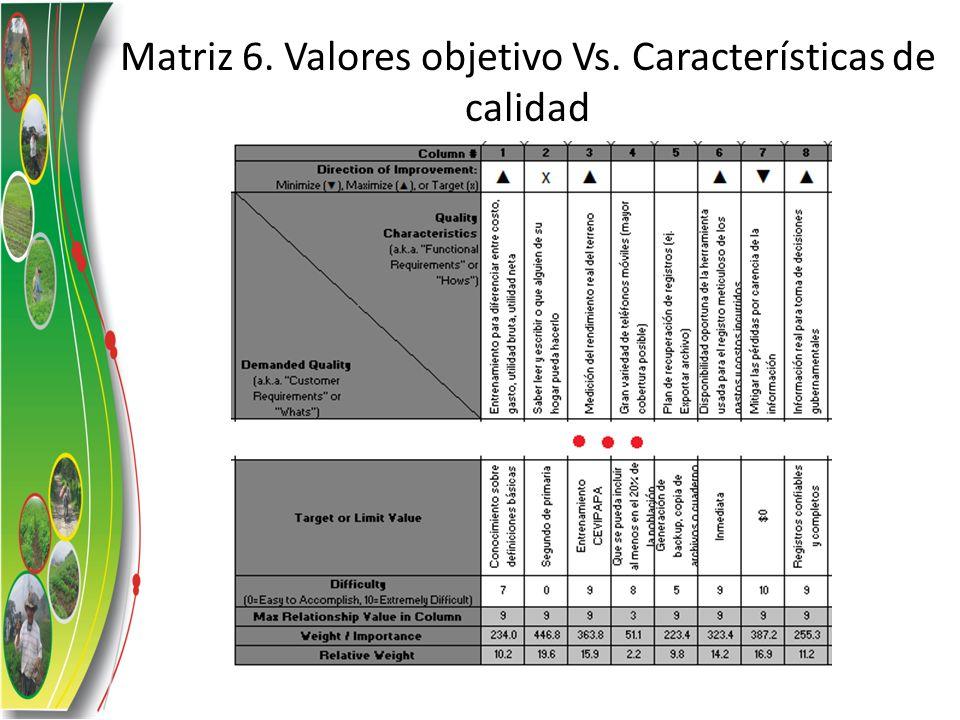 Matriz 6. Valores objetivo Vs. Características de calidad
