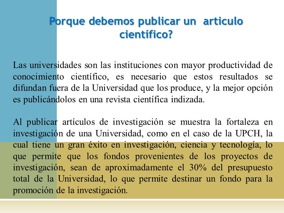 Porque debemos publicar un articulo científico