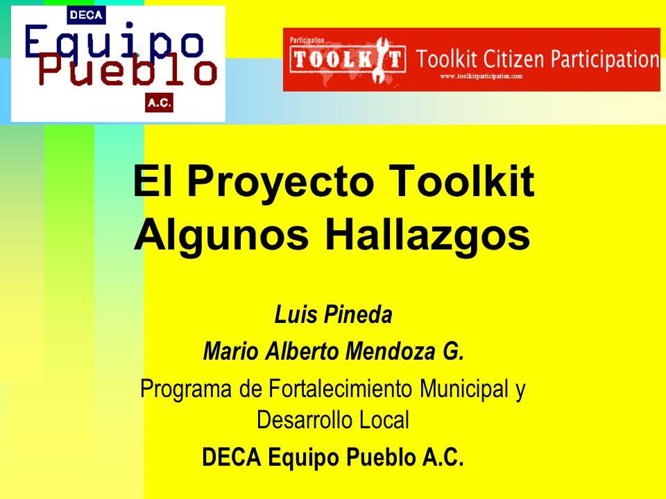 El Proyecto Toolkit Algunos Hallazgos