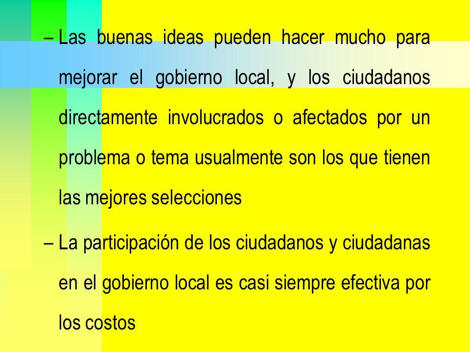 Las buenas ideas pueden hacer mucho para mejorar el gobierno local, y los ciudadanos directamente involucrados o afectados por un problema o tema usualmente son los que tienen las mejores selecciones