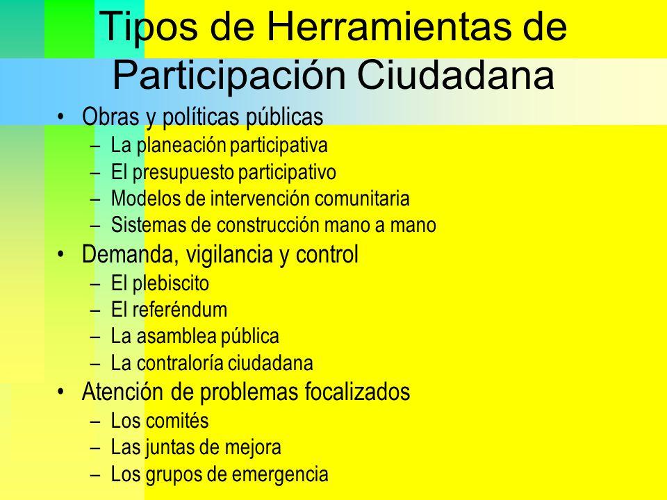 Tipos de Herramientas de Participación Ciudadana