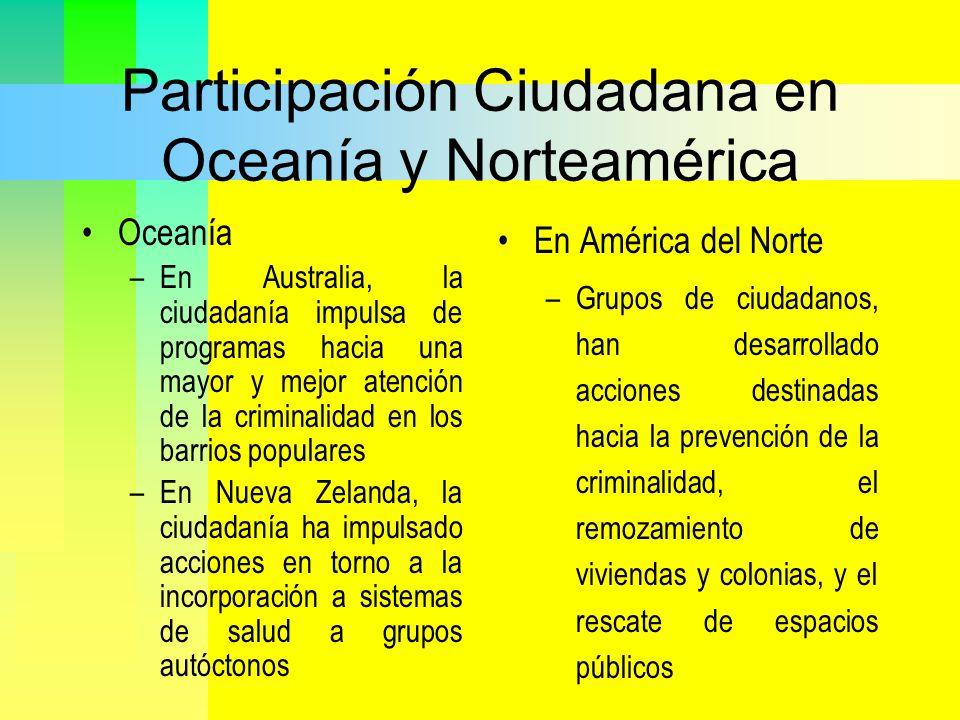 Participación Ciudadana en Oceanía y Norteamérica