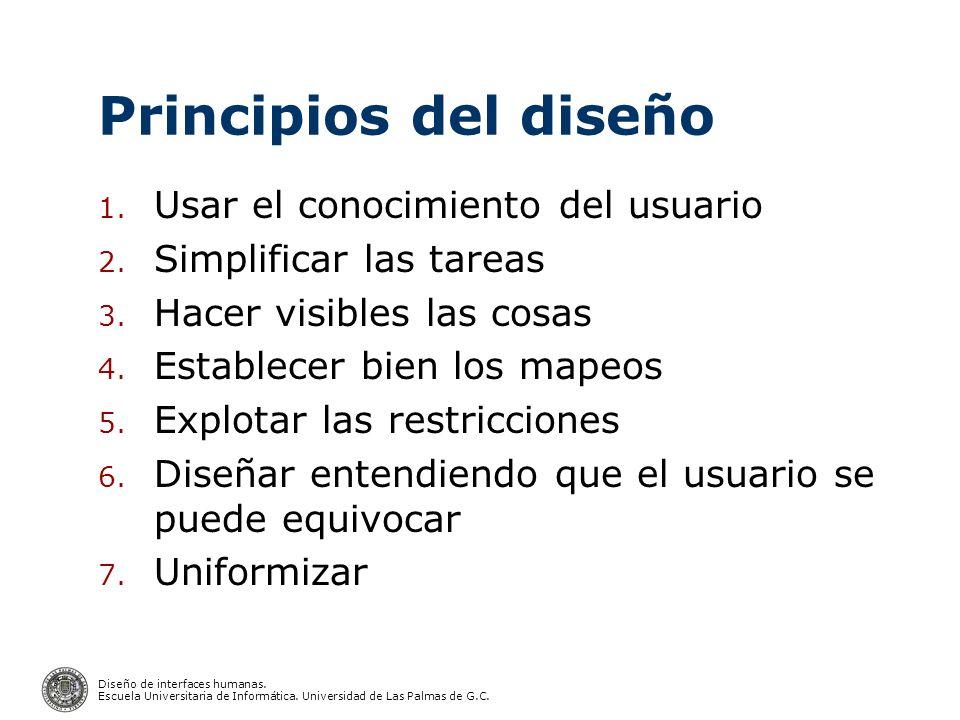 Principios del diseño Usar el conocimiento del usuario