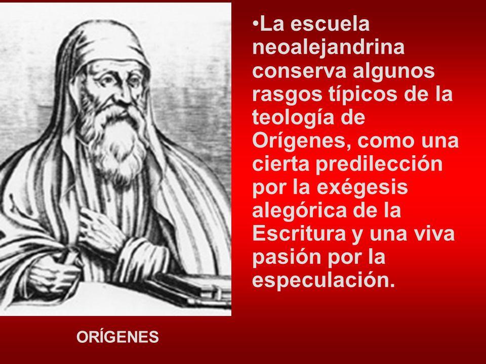 La escuela neoalejandrina conserva algunos rasgos típicos de la teología de Orígenes, como una cierta predilección por la exégesis alegórica de la Escritura y una viva pasión por la especulación.