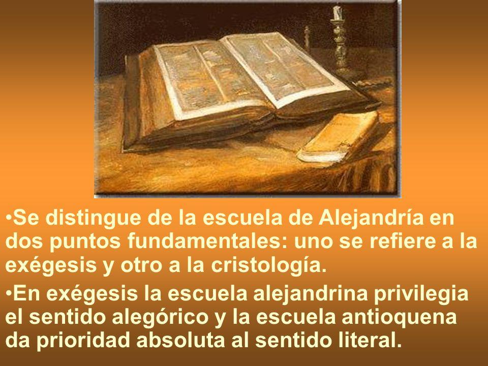 Se distingue de la escuela de Alejandría en dos puntos fundamentales: uno se refiere a la exégesis y otro a la cristología.