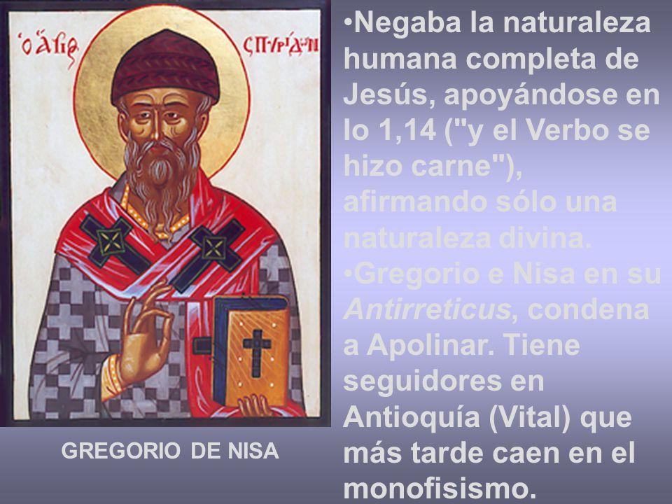 Negaba la naturaleza humana completa de Jesús, apoyándose en Io 1,14 ( y el Verbo se hizo carne ), afirmando sólo una naturaleza divina.