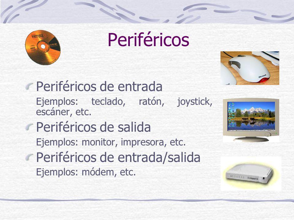 Periféricos Periféricos de entrada Periféricos de salida