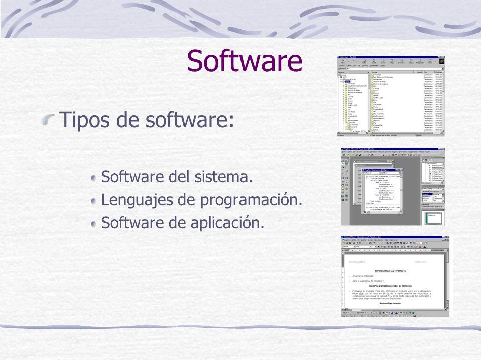 Software Tipos de software: Software del sistema.