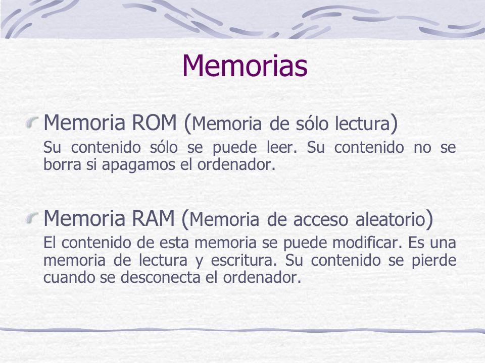 Memorias Memoria ROM (Memoria de sólo lectura)