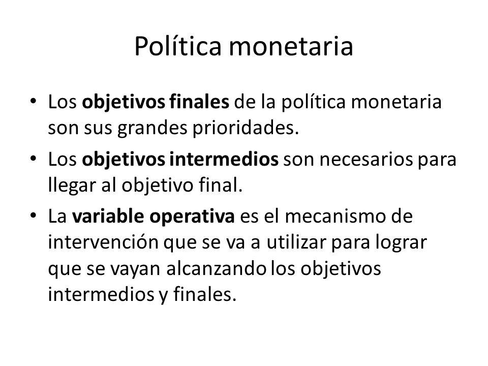 Política monetaria Los objetivos finales de la política monetaria son sus grandes prioridades.