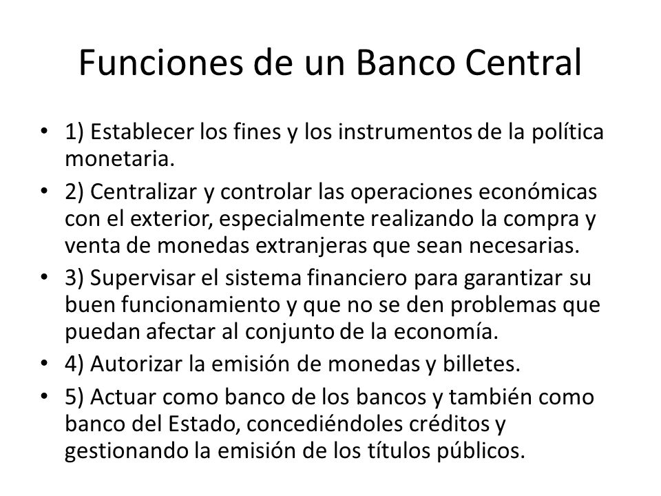 Funciones de un Banco Central