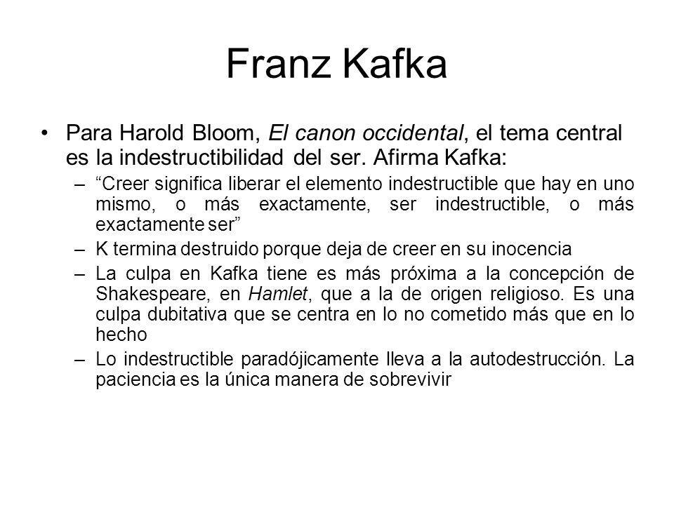 Franz Kafka Para Harold Bloom, El canon occidental, el tema central es la indestructibilidad del ser. Afirma Kafka: