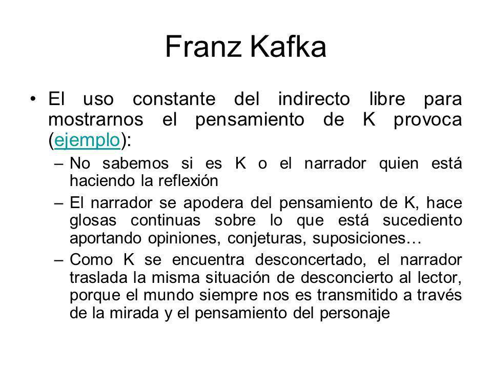 Franz Kafka El uso constante del indirecto libre para mostrarnos el pensamiento de K provoca (ejemplo):
