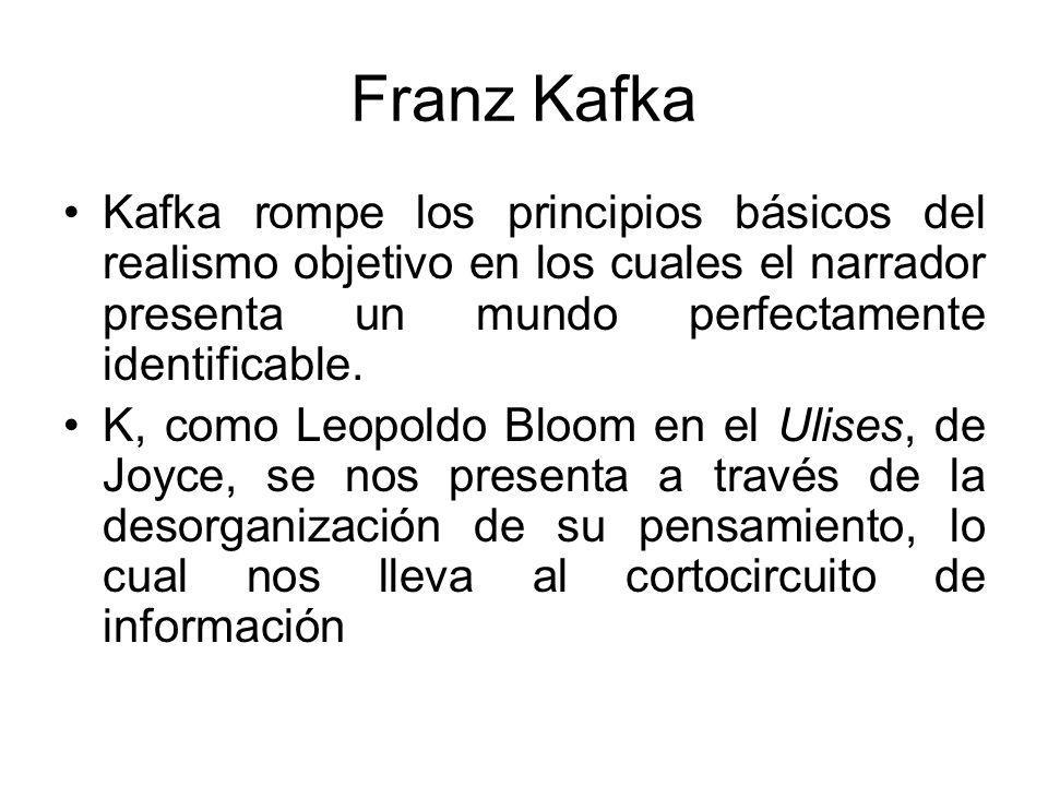 Franz Kafka Kafka rompe los principios básicos del realismo objetivo en los cuales el narrador presenta un mundo perfectamente identificable.