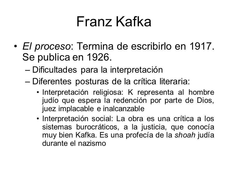 Franz Kafka El proceso: Termina de escribirlo en 1917. Se publica en 1926. Dificultades para la interpretación.