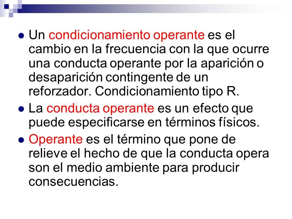 Un condicionamiento operante es el cambio en la frecuencia con la que ocurre una conducta operante por la aparición o desaparición contingente de un reforzador. Condicionamiento tipo R.
