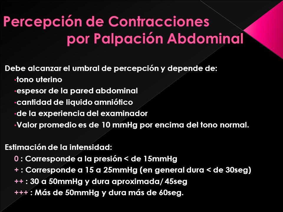 Percepción de Contracciones por Palpación Abdominal