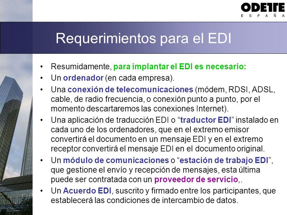 Requerimientos para el EDI