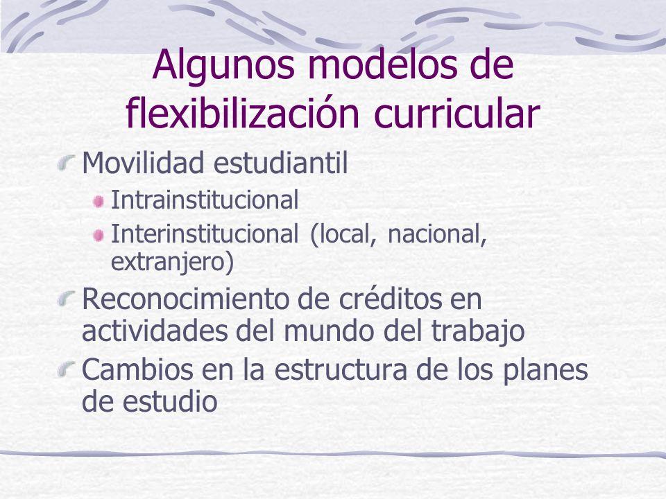 Algunos modelos de flexibilización curricular