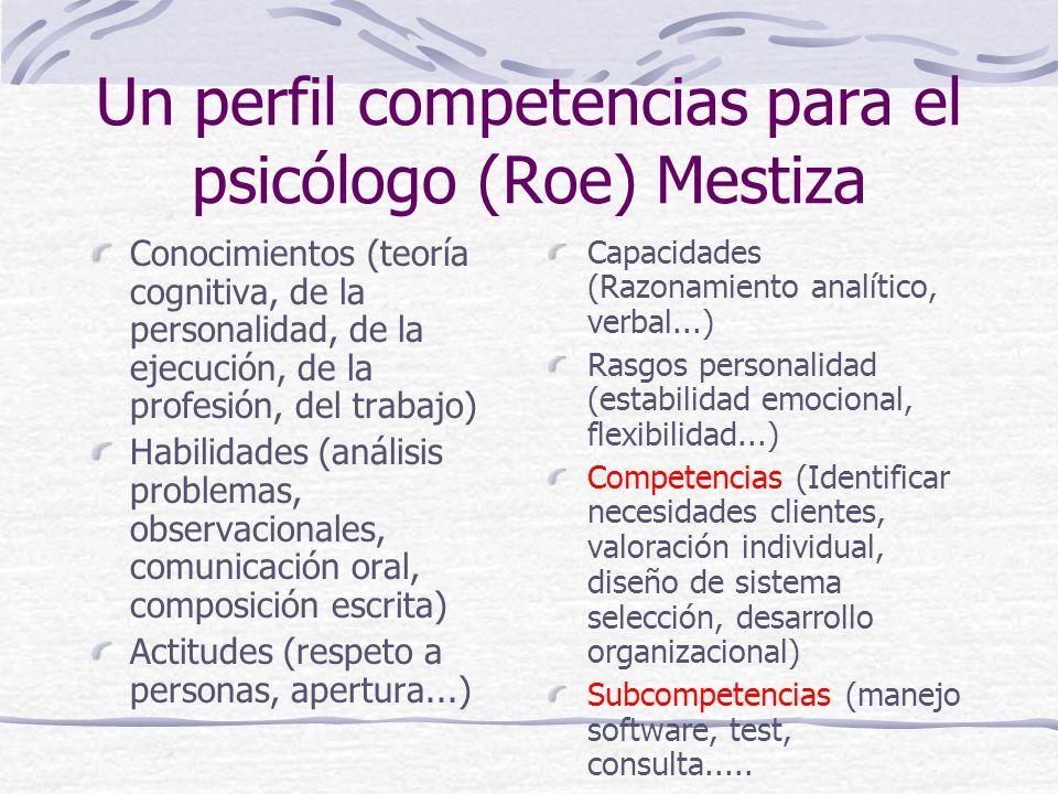 Un perfil competencias para el psicólogo (Roe) Mestiza