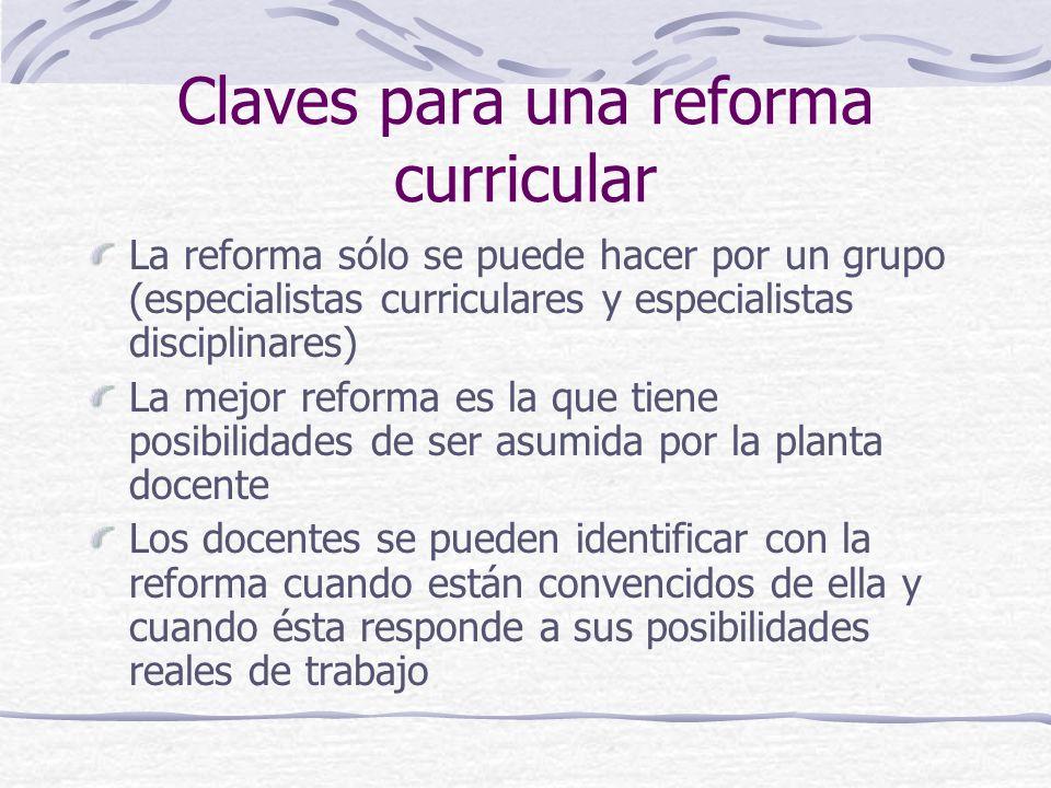 Claves para una reforma curricular