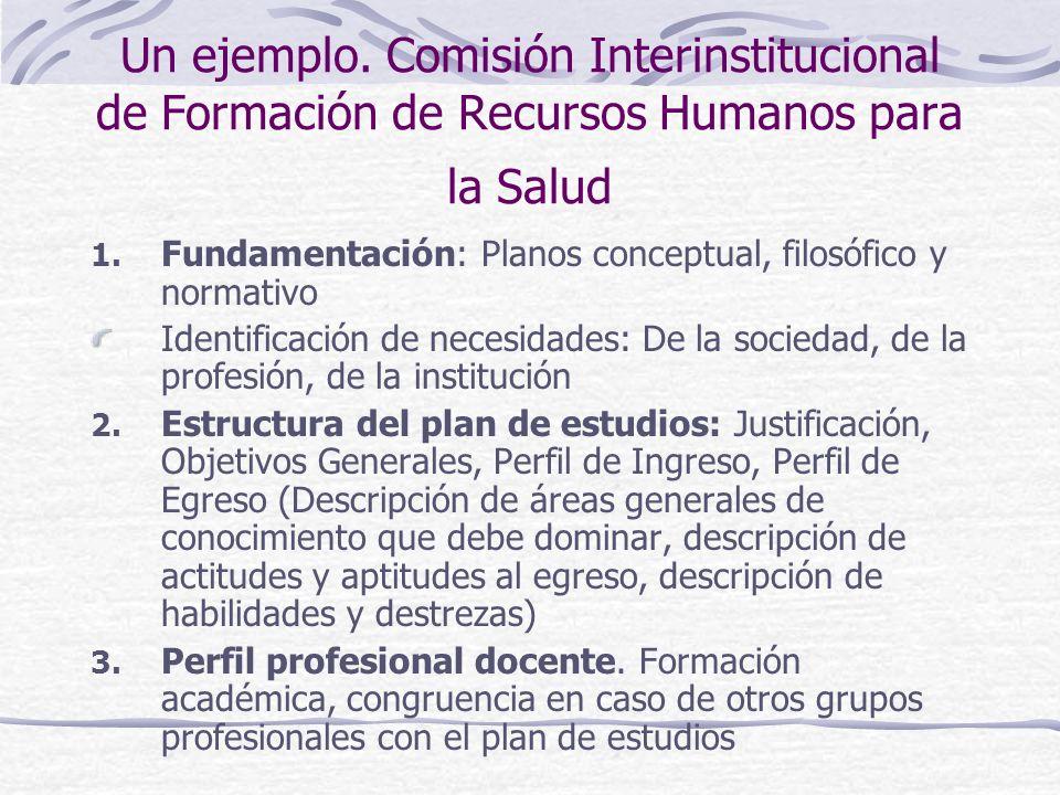 Un ejemplo. Comisión Interinstitucional de Formación de Recursos Humanos para la Salud