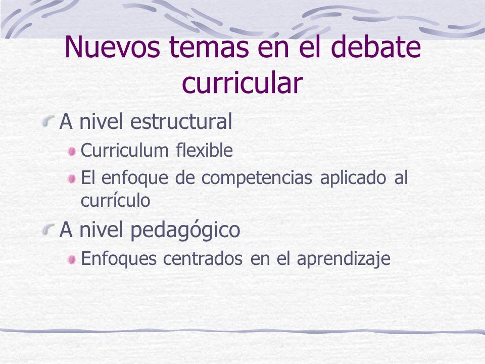Nuevos temas en el debate curricular