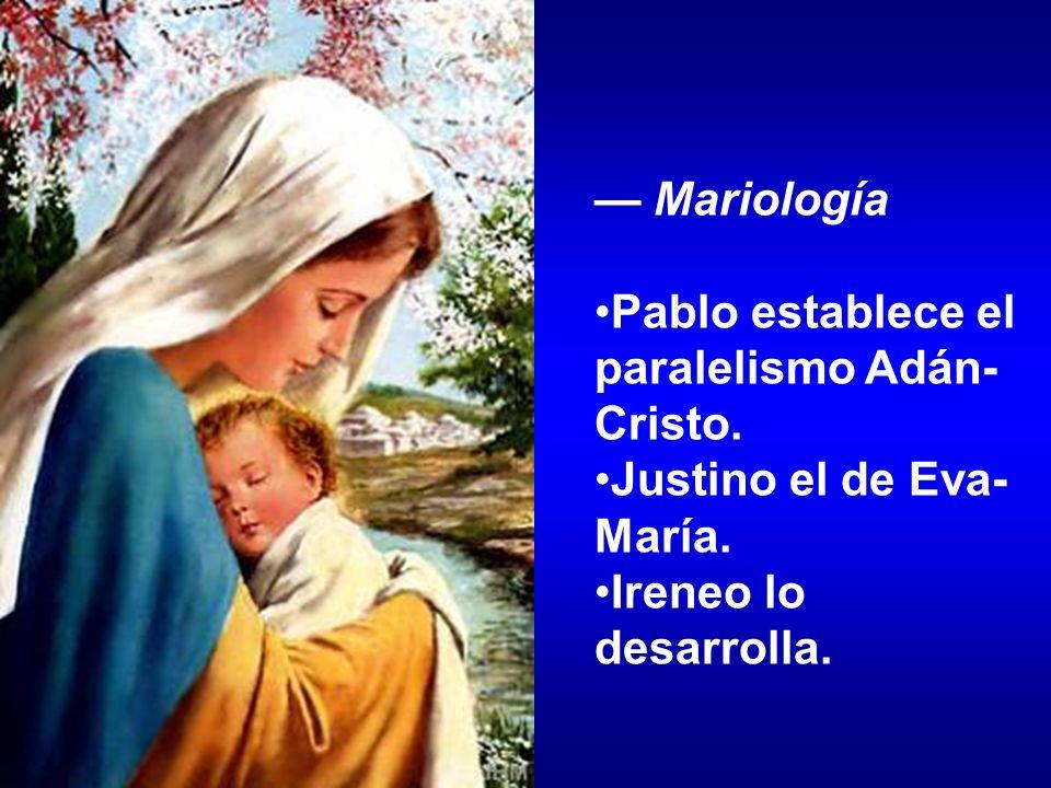 — Mariología Pablo establece el paralelismo Adán-Cristo.