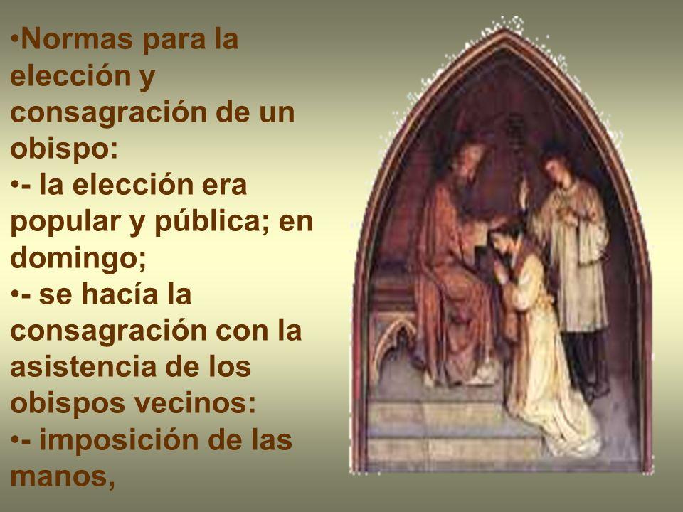 Normas para la elección y consagración de un obispo: