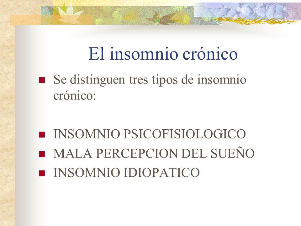 El insomnio crónico Se distinguen tres tipos de insomnio crónico: