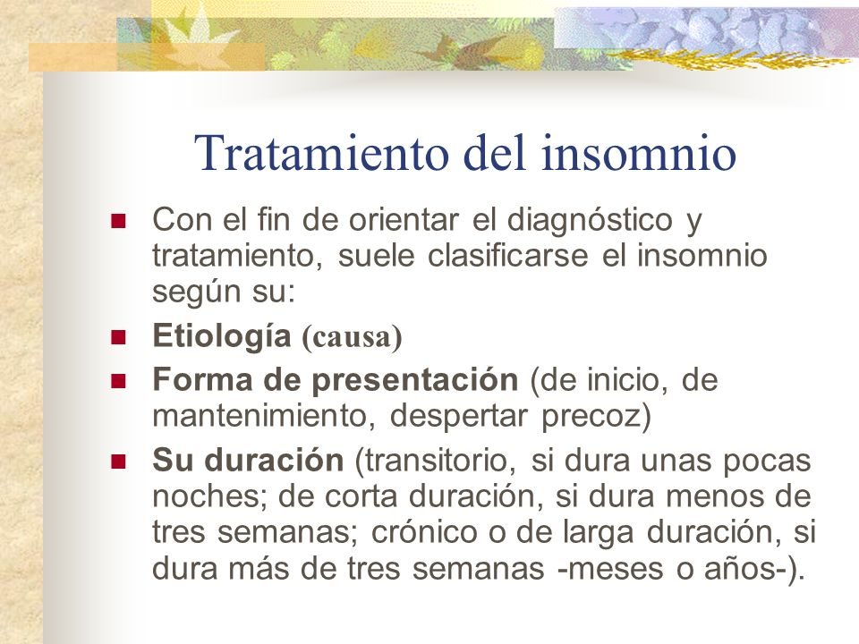Tratamiento del insomnio