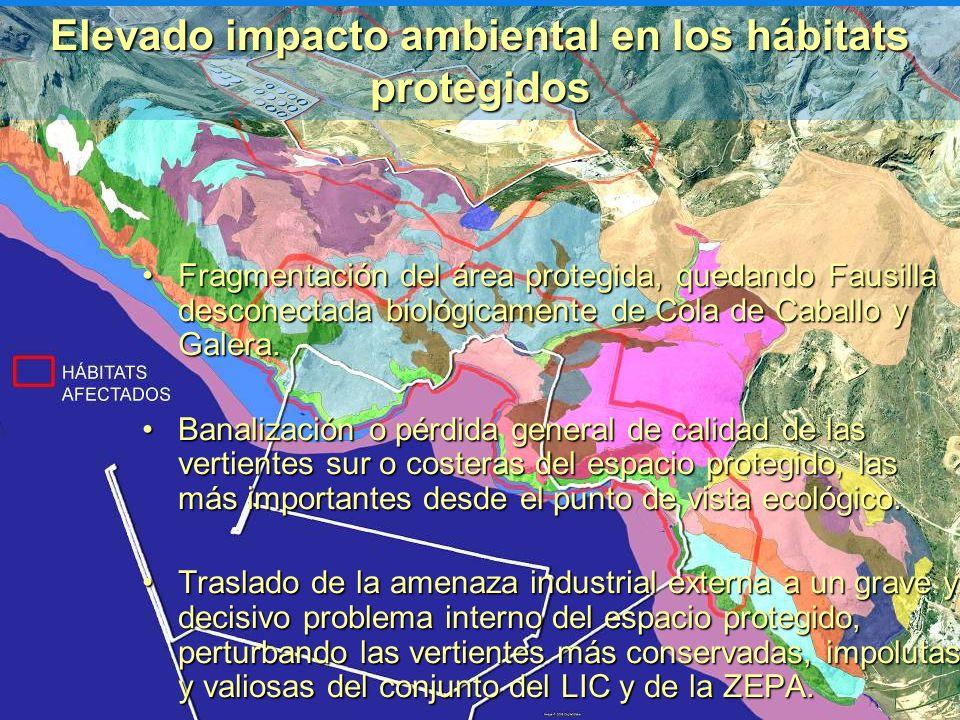 Elevado impacto ambiental en los hábitats protegidos