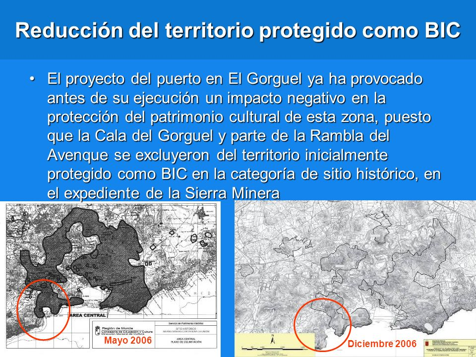 Reducción del territorio protegido como BIC