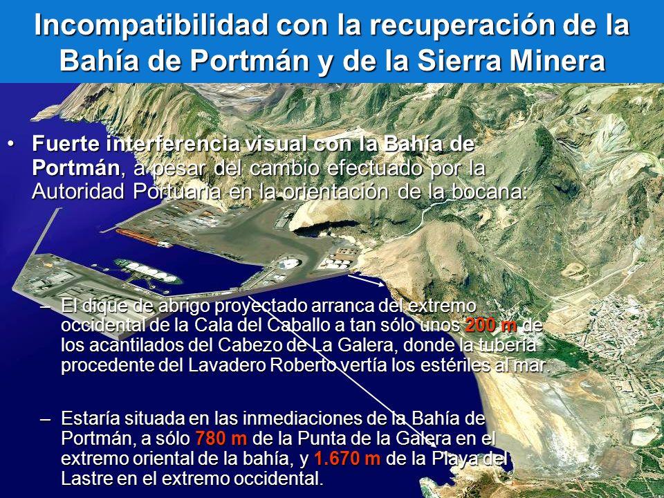 Incompatibilidad con la recuperación de la Bahía de Portmán y de la Sierra Minera