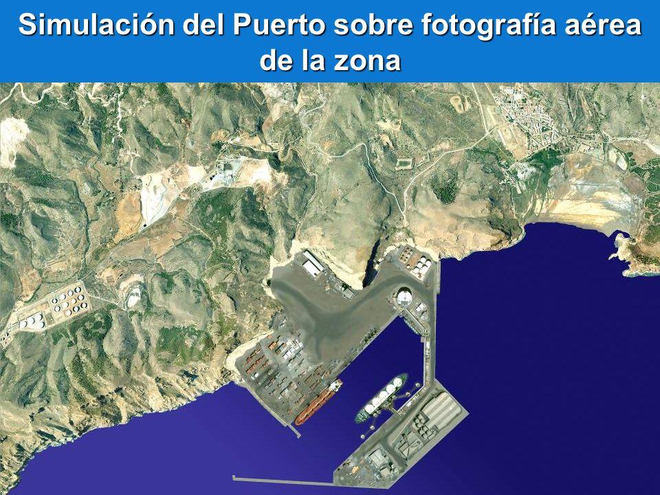 Simulación del Puerto sobre fotografía aérea de la zona