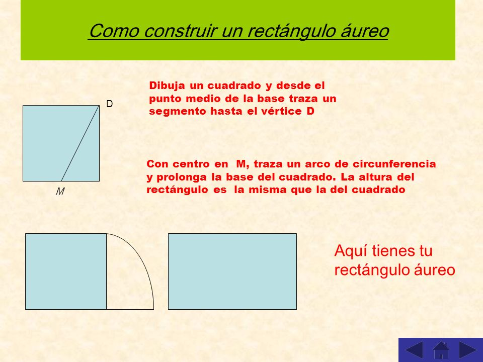Como construir un rectángulo áureo