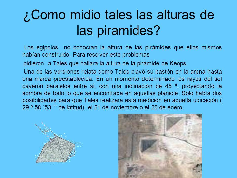 ¿Como midio tales las alturas de las piramides