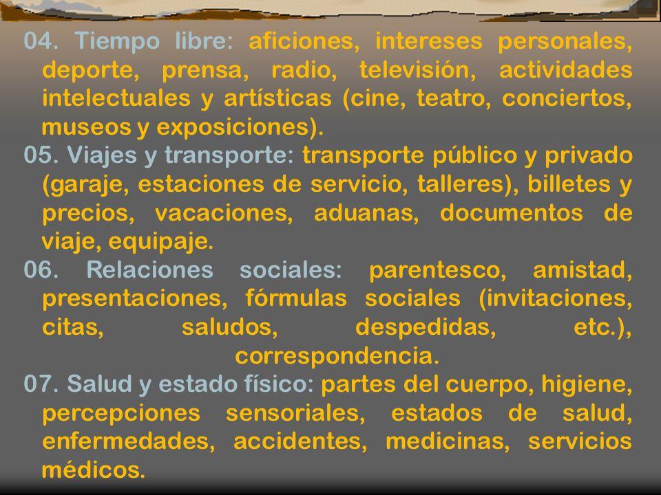 04. Tiempo libre: aficiones, intereses personales, deporte, prensa, radio, televisión, actividades intelectuales y artísticas (cine, teatro, conciertos, museos y exposiciones).